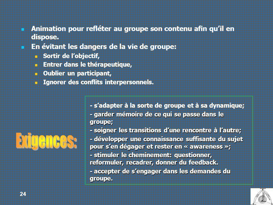 24 - sadapter à la sorte de groupe et à sa dynamique; - garder mémoire de ce qui se passe dans le groupe; - soigner les transitions dune rencontre à l