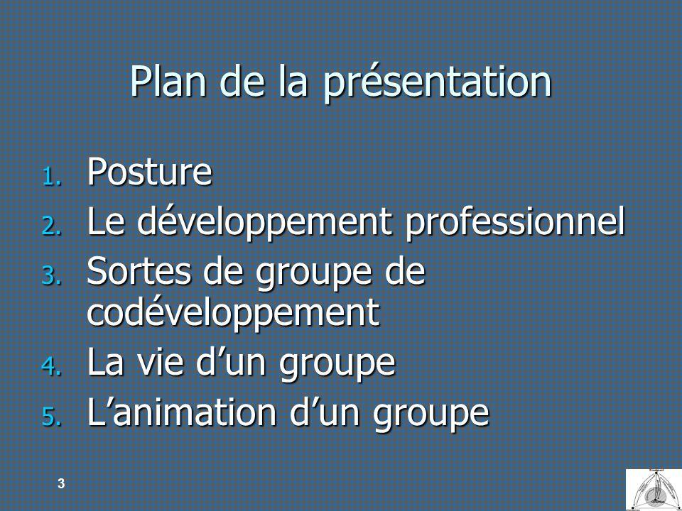 3 Plan de la présentation 1. Posture 2. Le développement professionnel 3. Sortes de groupe de codéveloppement 4. La vie dun groupe 5. Lanimation dun g