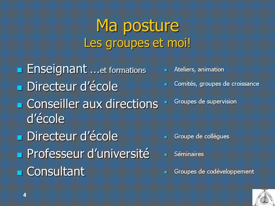 4 Ma posture Les groupes et moi! Enseignant … et formations Enseignant … et formations Directeur décole Directeur décole Conseiller aux directions déc