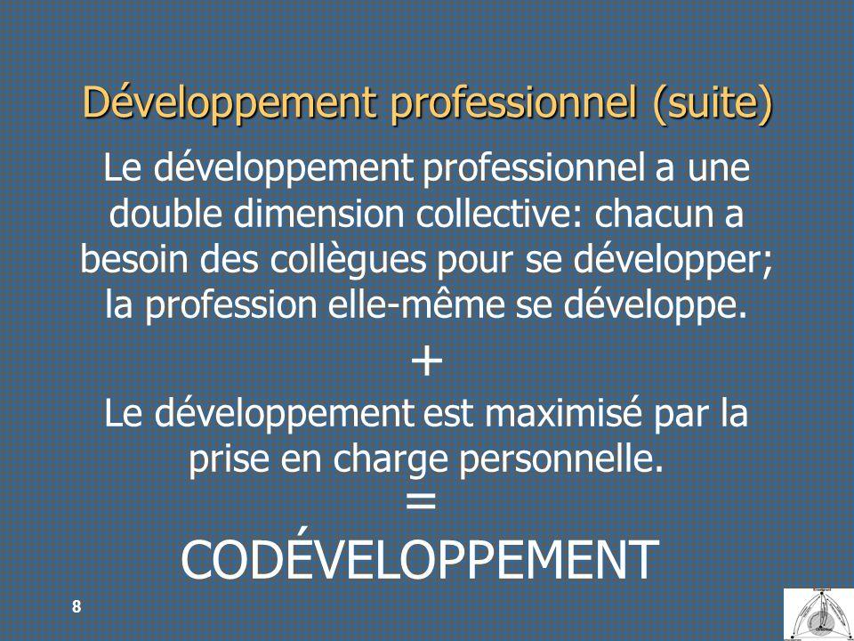 9 Développement professionnel (suite) CODÉVELOPPEMENT GROUPE DE CODÉVELOPPEMENT Ensemble de personnes (formant un groupe) qui se réunissent régulièrement dans le but de contribuer mutuellement à leur développement professionnel Une approche: un comité dexperts, un groupe de soutien, une communauté dapprentissage, une communauté de pratique.