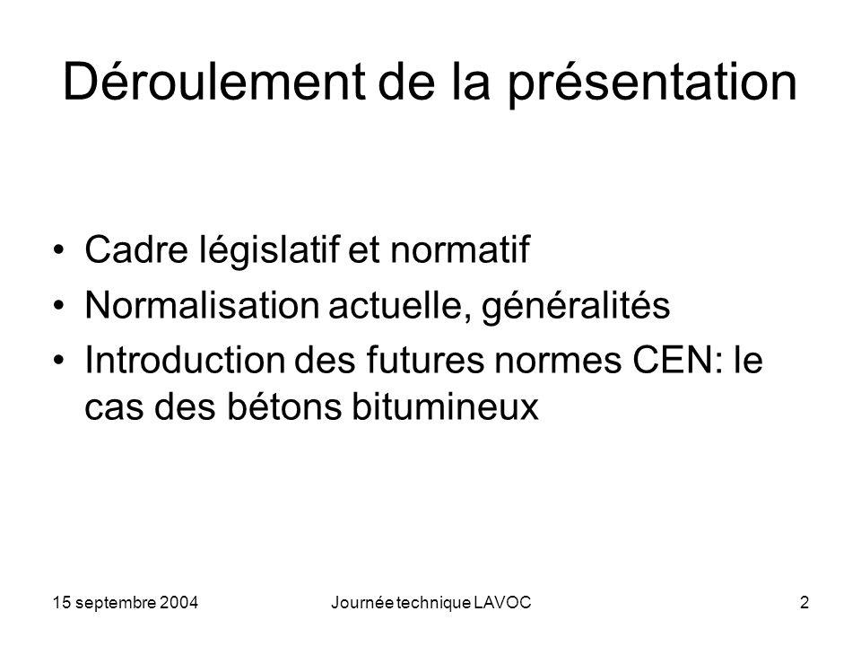 15 septembre 2004Journée technique LAVOC2 Déroulement de la présentation Cadre législatif et normatif Normalisation actuelle, généralités Introduction