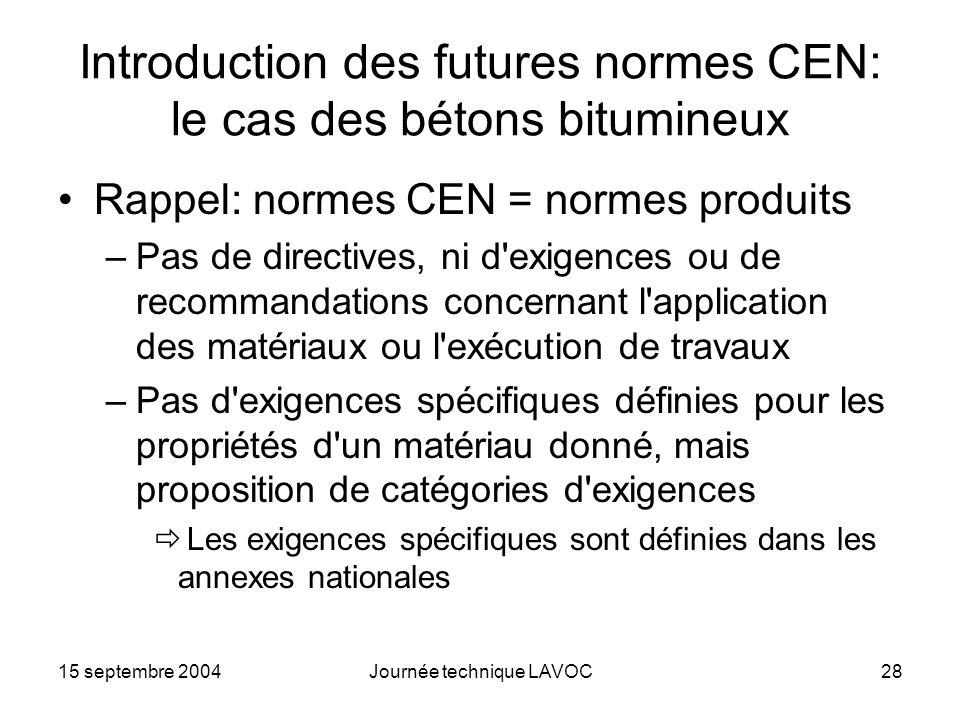 15 septembre 2004Journée technique LAVOC28 Introduction des futures normes CEN: le cas des bétons bitumineux Rappel: normes CEN = normes produits –Pas