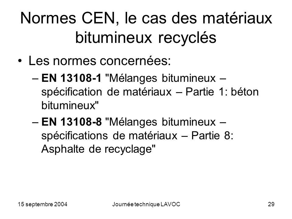 15 septembre 2004Journée technique LAVOC29 Normes CEN, le cas des matériaux bitumineux recyclés Les normes concernées: –EN 13108-1
