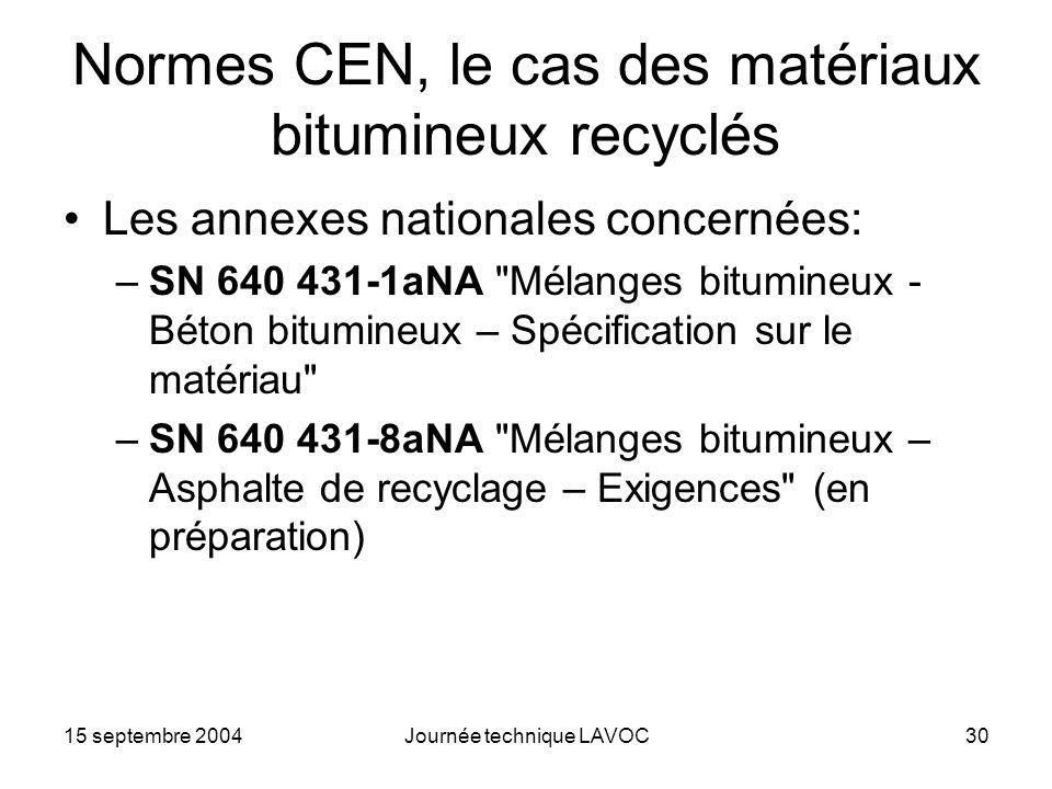 15 septembre 2004Journée technique LAVOC30 Normes CEN, le cas des matériaux bitumineux recyclés Les annexes nationales concernées: –SN 640 431-1aNA