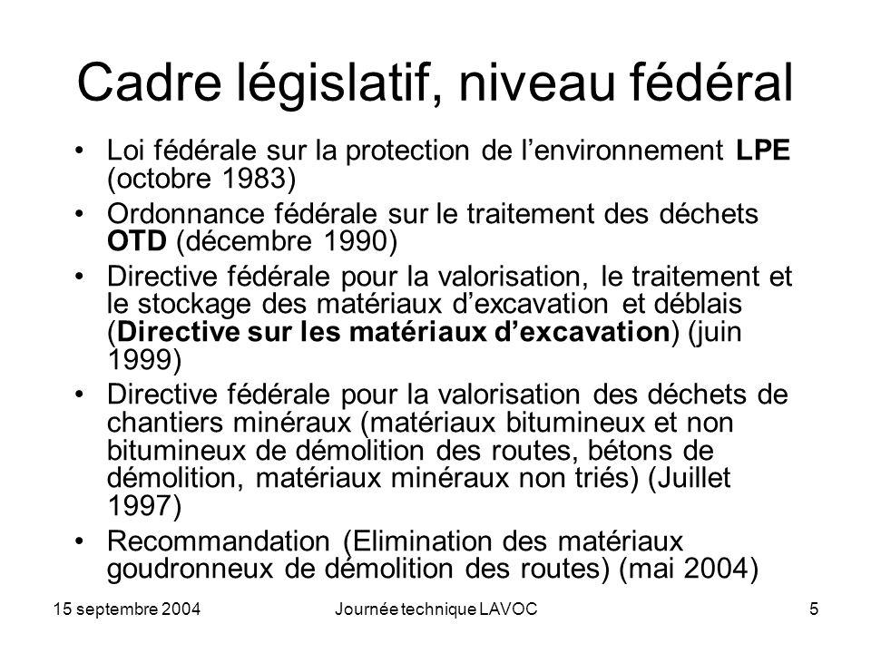 15 septembre 2004Journée technique LAVOC5 Cadre législatif, niveau fédéral Loi fédérale sur la protection de lenvironnement LPE (octobre 1983) Ordonna