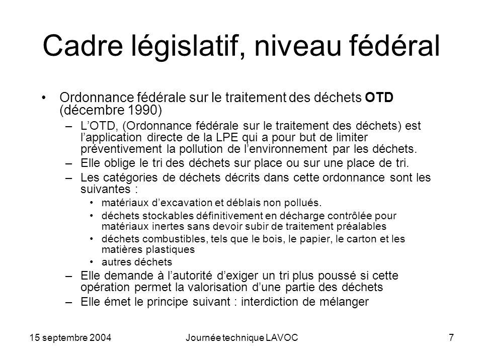 15 septembre 2004Journée technique LAVOC7 Cadre législatif, niveau fédéral Ordonnance fédérale sur le traitement des déchets OTD (décembre 1990) –LOTD