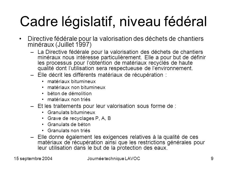 15 septembre 2004Journée technique LAVOC9 Cadre législatif, niveau fédéral Directive fédérale pour la valorisation des déchets de chantiers minéraux (