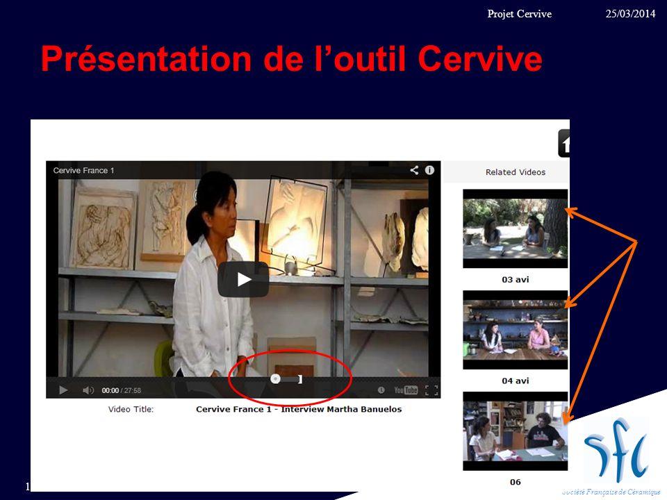 Société Française de Céramique Présentation de loutil Cervive 25/03/2014 11 Projet Cervive