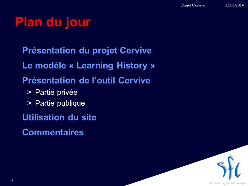 Société Française de Céramique Plan du jour Présentation du projet Cervive Le modèle « Learning History » Présentation de loutil Cervive >Partie privé