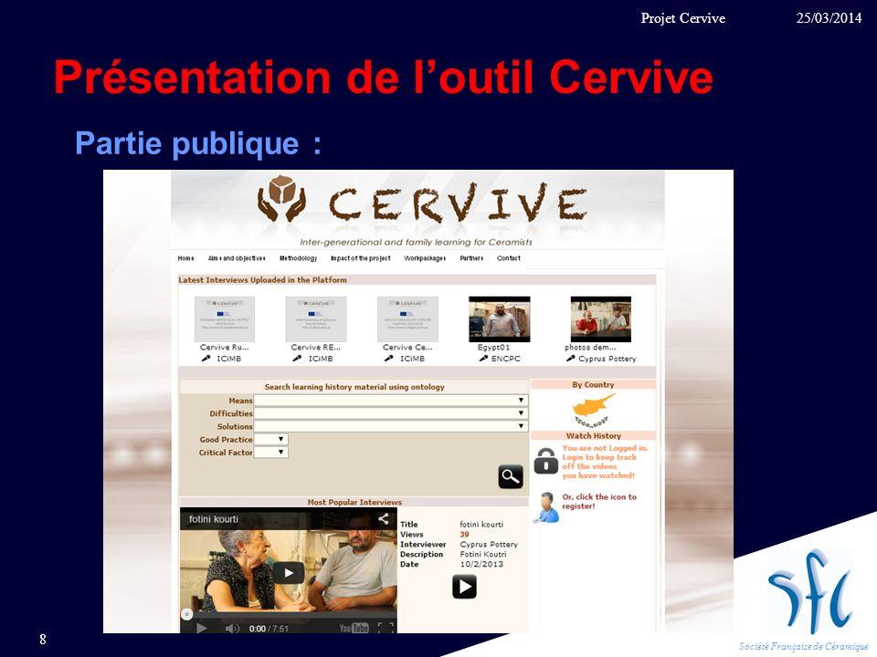 Société Française de Céramique Présentation de loutil Cervive 25/03/2014 8 Projet Cervive Partie publique :