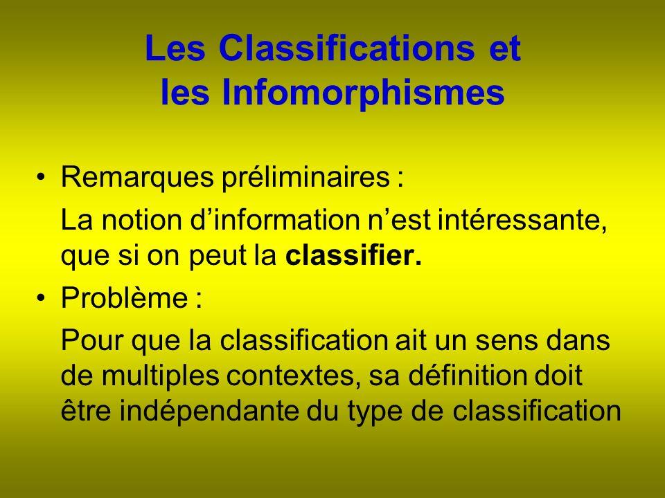 Les Classifications et les Infomorphismes Remarques préliminaires : La notion dinformation nest intéressante, que si on peut la classifier.