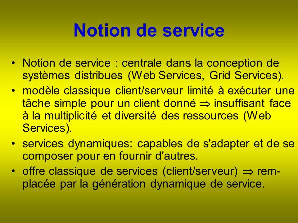 Notion de service : centrale dans la conception de systèmes distribues (Web Services, Grid Services).