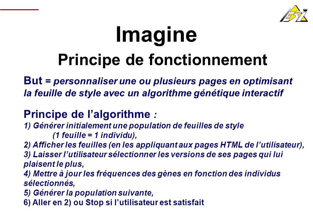 Imagine Principe de fonctionnement But = personnaliser une ou plusieurs pages en optimisant la feuille de style avec un algorithme génétique interacti