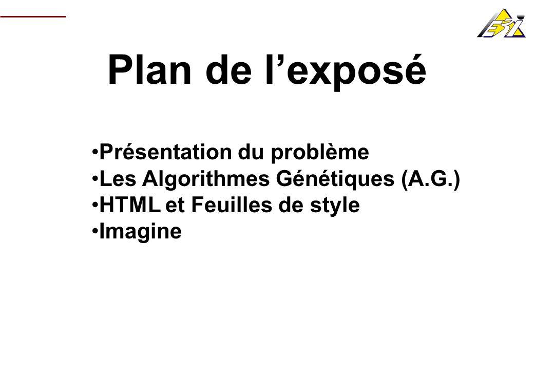 Plan de lexposé Présentation du problème Les Algorithmes Génétiques (A.G.) HTML et Feuilles de style Imagine