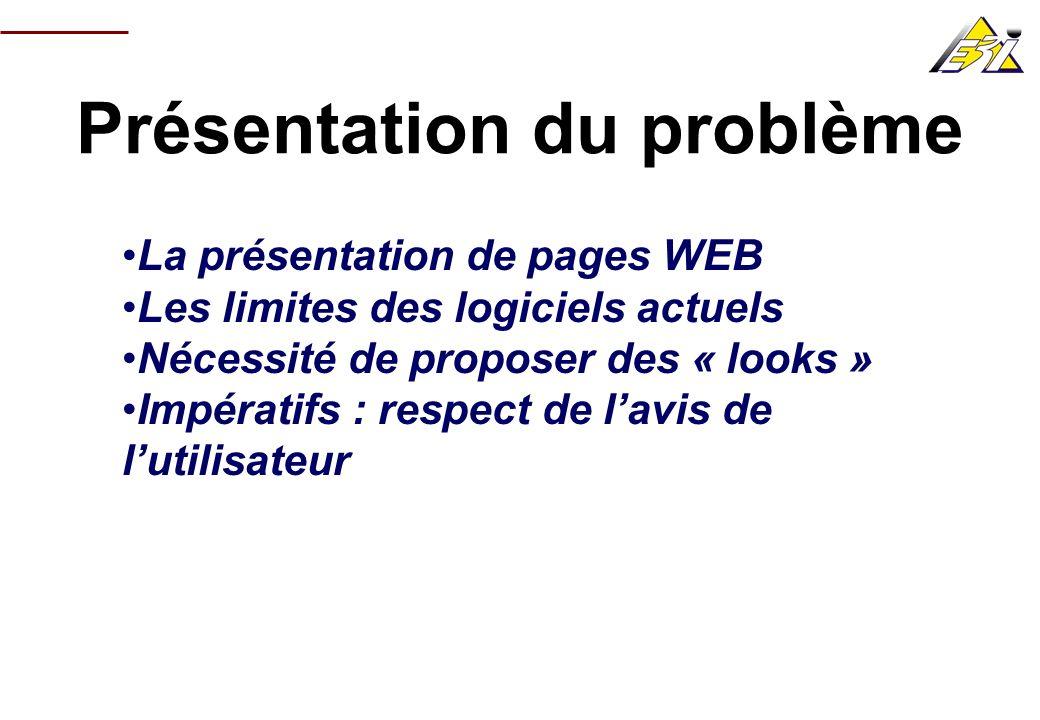 Présentation du problème La présentation de pages WEB Les limites des logiciels actuels Nécessité de proposer des « looks » Impératifs : respect de la