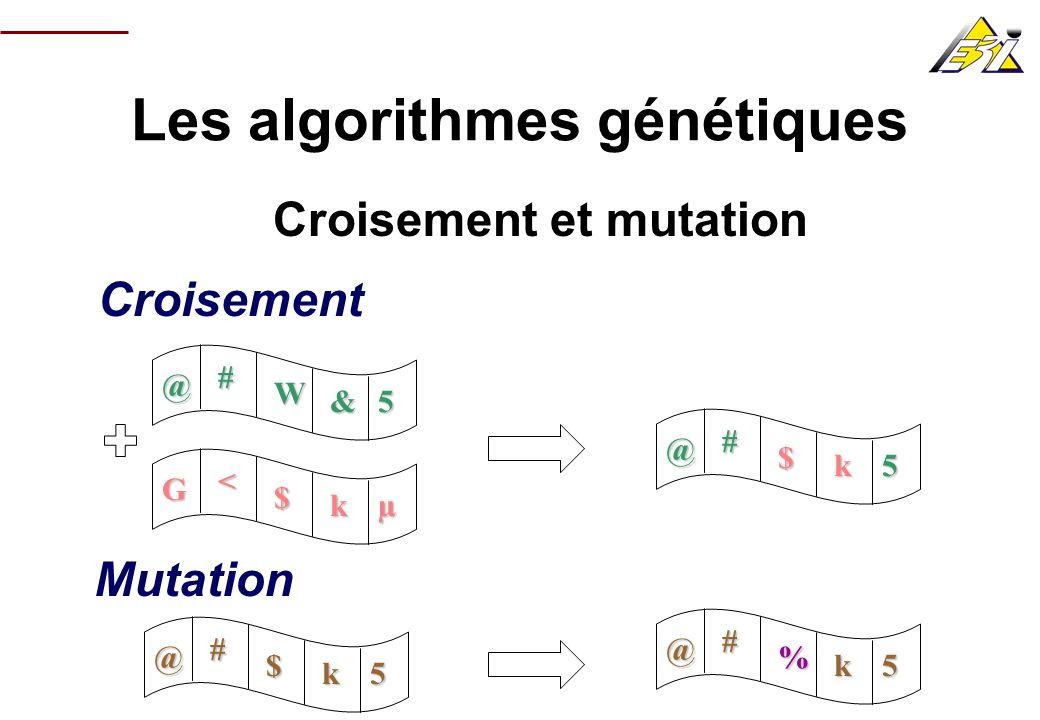 Les algorithmes génétiques AG non classique (basé sur la fréquence des gènes) @ # W &µ G # $ kµ G # * « 5 @ # W 8 µ Gène n°1 ValeurFréquence @50 % G Gène n°2 ValeurFréquence #100 % Etc.