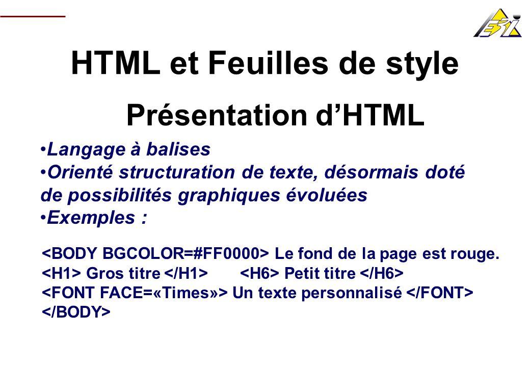 HTML et Feuilles de style Les feuilles de style (CSS) Un but : faciliter la cohérence graphique dun site en définissant des styles Orienté HTML : nimporte quelle balise peut voir son rendu graphique modifié
