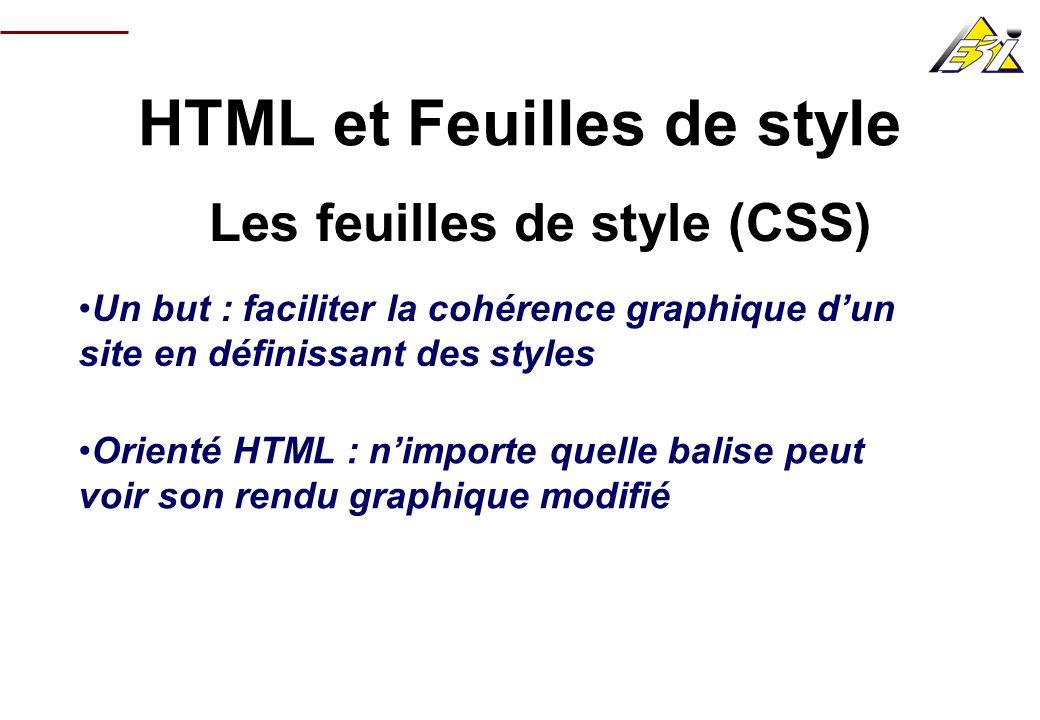 HTML et Feuilles de style Les feuilles de style (CSS) Un but : faciliter la cohérence graphique dun site en définissant des styles Orienté HTML : nimp