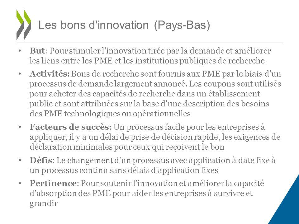 But: Pour stimuler l innovation tirée par la demande et améliorer les liens entre les PME et les institutions publiques de recherche Activités: Bons de recherche sont fournis aux PME par le biais d un processus de demande largement annoncé.