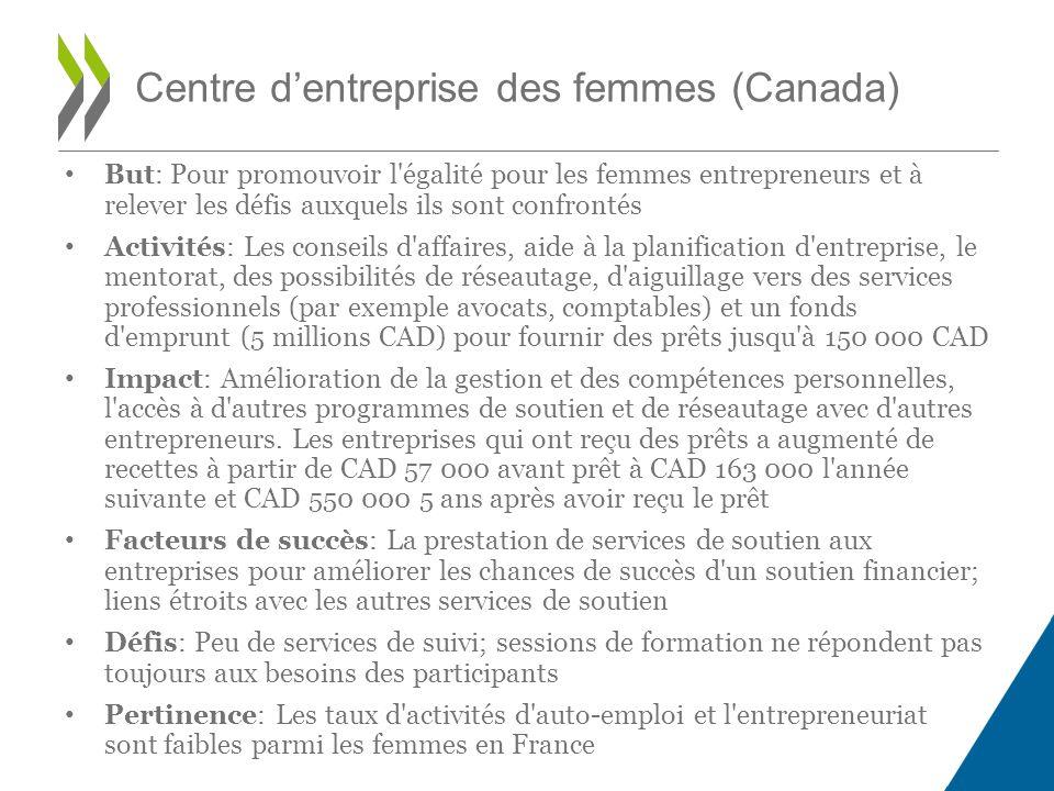 But: Pour promouvoir l égalité pour les femmes entrepreneurs et à relever les défis auxquels ils sont confrontés Activités: Les conseils d affaires, aide à la planification d entreprise, le mentorat, des possibilités de réseautage, d aiguillage vers des services professionnels (par exemple avocats, comptables) et un fonds d emprunt (5 millions CAD) pour fournir des prêts jusqu à 150 000 CAD Impact: Amélioration de la gestion et des compétences personnelles, l accès à d autres programmes de soutien et de réseautage avec d autres entrepreneurs.