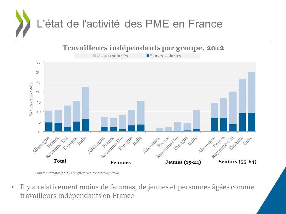Travailleurs indépendants par groupe, 2012 L état de l activité des PME en France Source: Eurostat (2012), Lenqu ête sur les forces de travail.