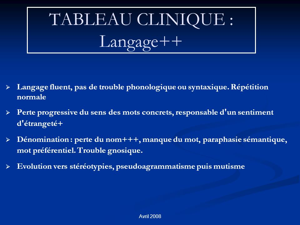 Avril 2008 TABLEAU CLINIQUE : Langage++ Langage fluent, pas de trouble phonologique ou syntaxique. Répétition normale Perte progressive du sens des mo