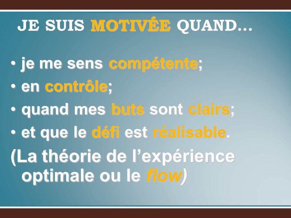 MOTIVÉE JE SUIS MOTIVÉE QUAND… je me sens compétente;je me sens compétente; en contrôle;en contrôle; quand mes buts sont clairs;quand mes buts sont cl