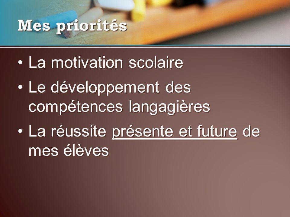 Mes priorités La motivation scolaireLa motivation scolaire Le développement des compétences langagièresLe développement des compétences langagières La réussite présente et future de mes élèvesLa réussite présente et future de mes élèves