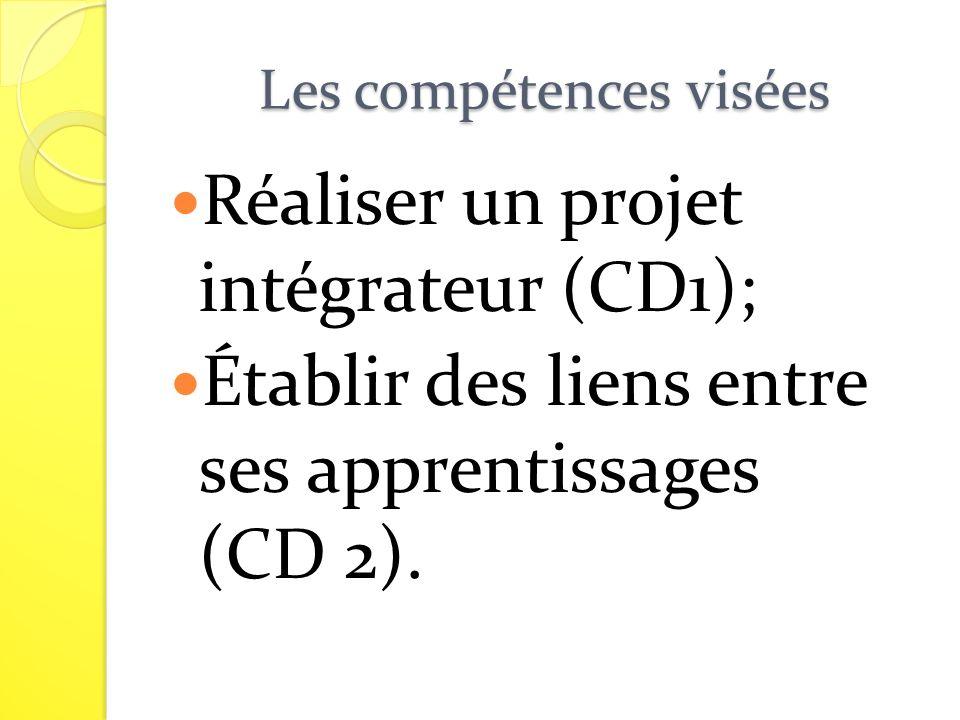 Les compétences visées Réaliser un projet intégrateur (CD1); Établir des liens entre ses apprentissages (CD 2).