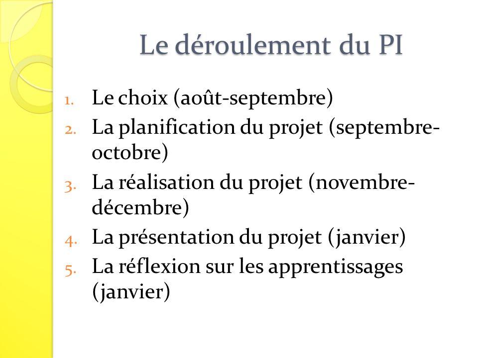 Le déroulement du PI 1. Le choix (août-septembre) 2. La planification du projet (septembre- octobre) 3. La réalisation du projet (novembre- décembre)