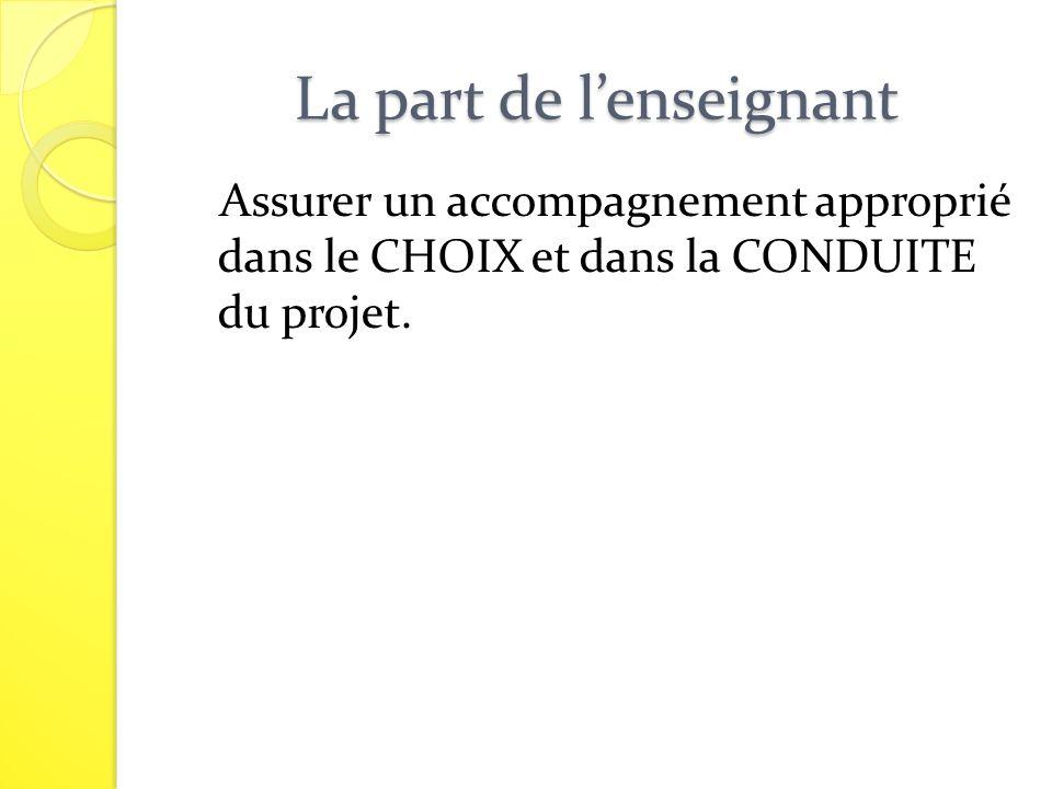 La part de lenseignant Assurer un accompagnement approprié dans le CHOIX et dans la CONDUITE du projet.