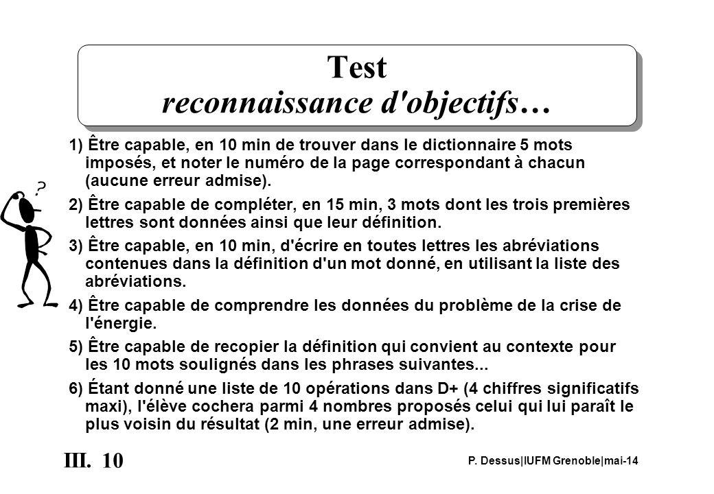 10 III. P. Dessus IUFM Grenoble mai-14 Test reconnaissance d'objectifs… 1) Être capable, en 10 min de trouver dans le dictionnaire 5 mots imposés, et
