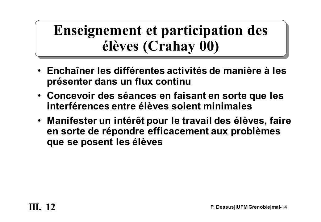 12 III. P. Dessus IUFM Grenoble mai-14 Enseignement et participation des élèves (Crahay 00) Enchaîner les différentes activités de manière à les prése