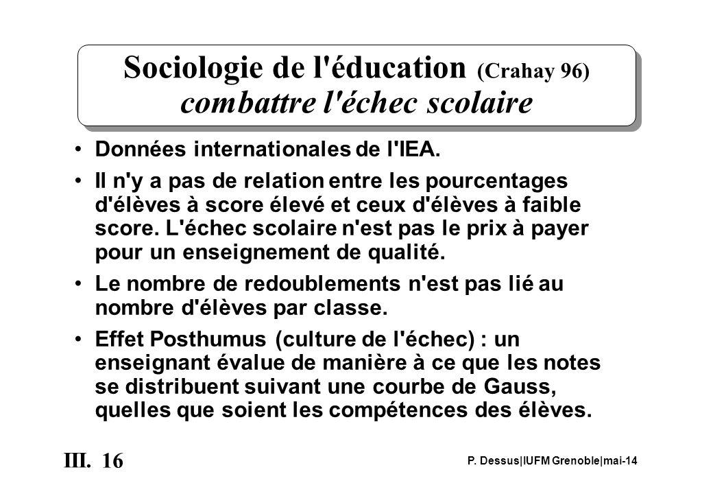 16 III. P. Dessus IUFM Grenoble mai-14 Sociologie de l'éducation (Crahay 96) combattre l'échec scolaire Données internationales de l'IEA. Il n'y a pas