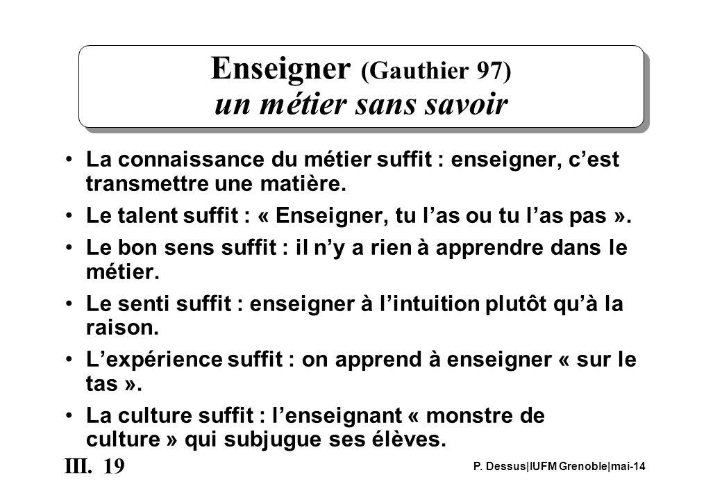 19 III. P. Dessus IUFM Grenoble mai-14 Enseigner (Gauthier 97) un métier sans savoir La connaissance du métier suffit : enseigner, cest transmettre un