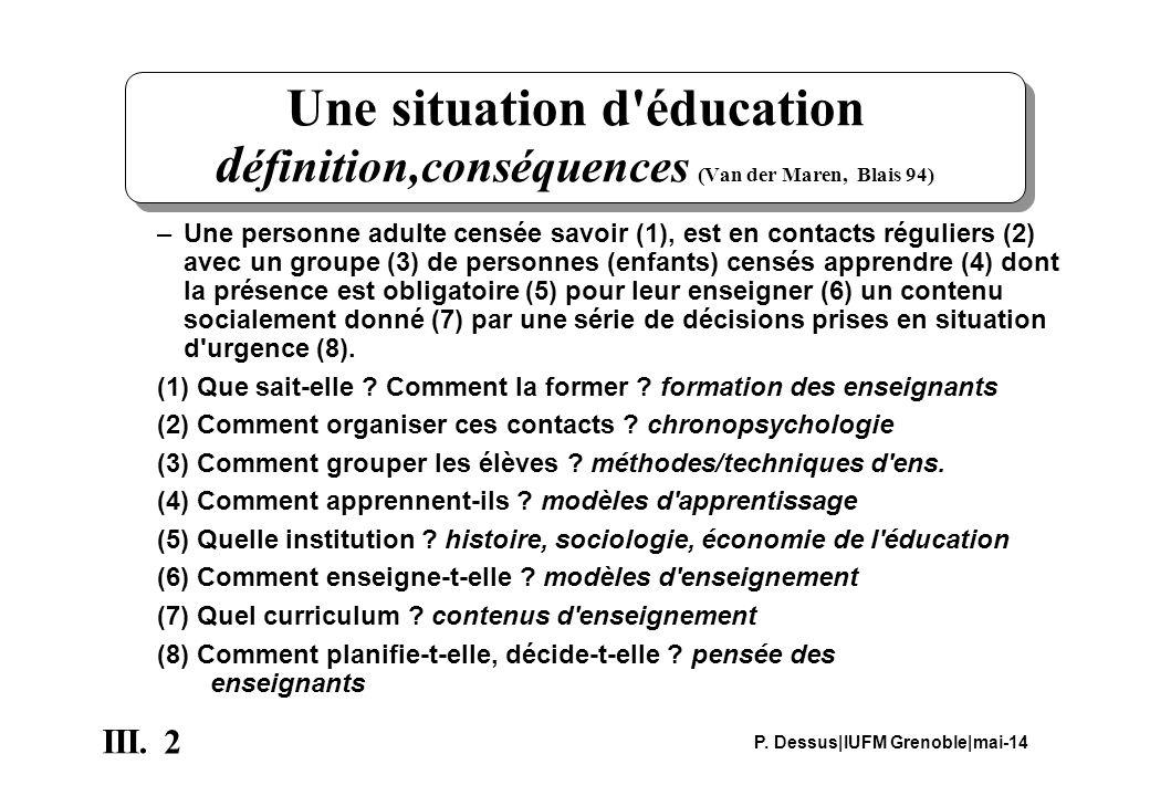 2 III. P. Dessus IUFM Grenoble mai-14 Une situation d'éducation d éfinition,conséquences (Van der Maren, Blais 94) –Une personne adulte censée savoir