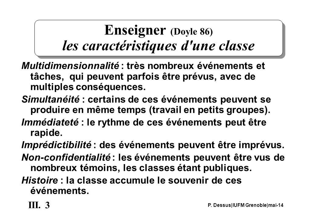 3 III. P. Dessus IUFM Grenoble mai-14 Enseigner (Doyle 86) les caractéristiques d'une classe Multidimensionnalité : très nombreux événements et tâches