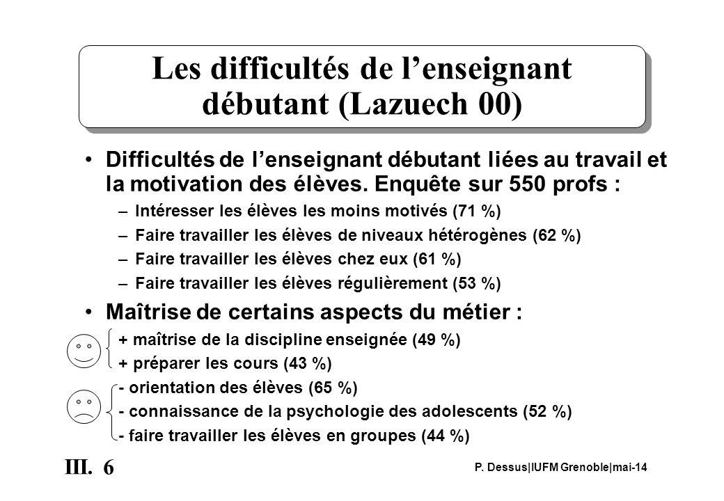 6 III. P. Dessus IUFM Grenoble mai-14 Les difficultés de lenseignant débutant (Lazuech 00) Difficultés de lenseignant débutant liées au travail et la