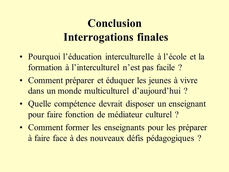 Conclusion Interrogations finales Pourquoi léducation interculturelle à lécole et la formation à linterculturel nest pas facile ? Comment préparer et