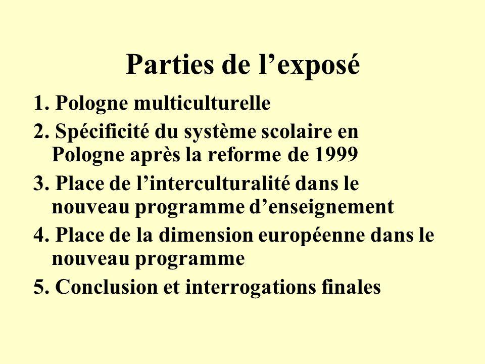 Parties de lexposé 1.Pologne multiculturelle 2.