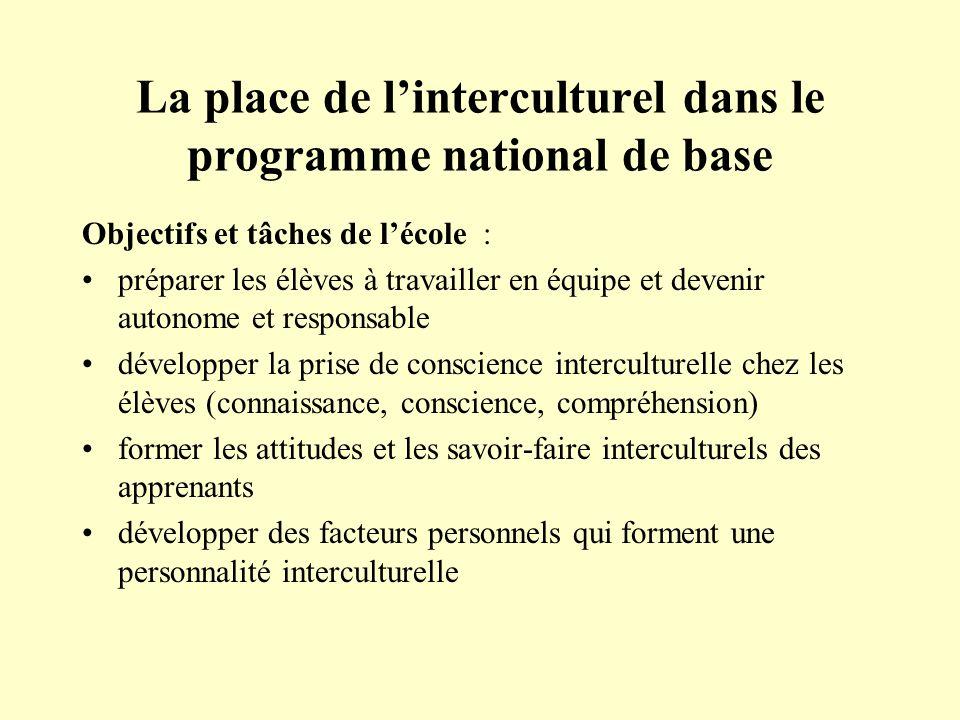 La place de linterculturel dans le programme national de base Objectifs et tâches de lécole : préparer les élèves à travailler en équipe et devenir au