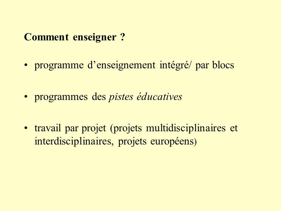 Comment enseigner ? programme denseignement intégré/ par blocs programmes des pistes éducatives travail par projet (projets multidisciplinaires et int