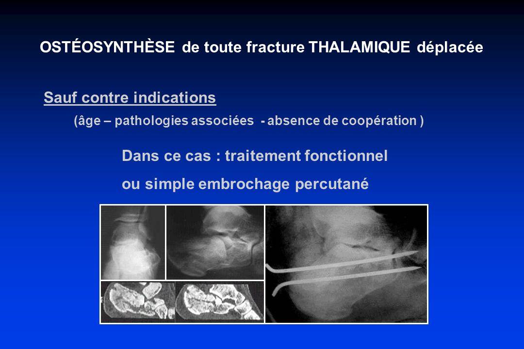 OSTÉOSYNTHÈSE de toute fracture THALAMIQUE déplacée Sauf contre indications (âge – pathologies associées - absence de coopération ) Dans ce cas : trai