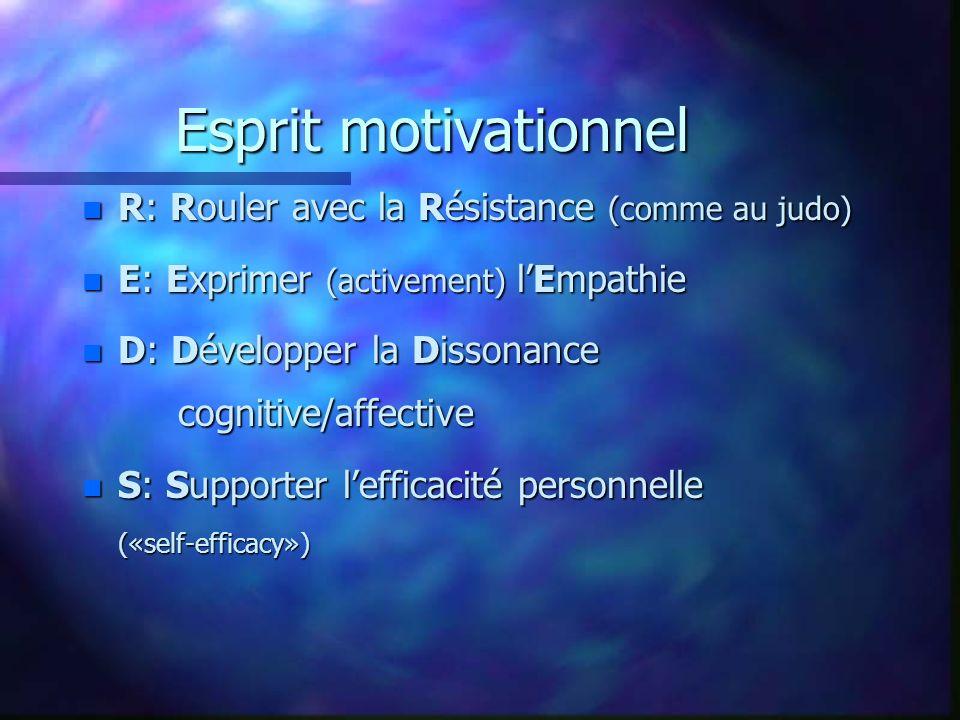Esprit motivationnel n R: Rouler avec la Résistance (comme au judo) n E: Exprimer (activement) lEmpathie n D: Développer la Dissonance cognitive/affec