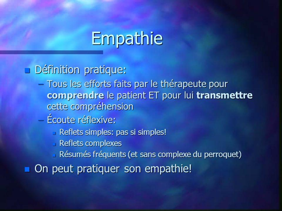 Empathie n Définition pratique: –Tous les efforts faits par le thérapeute pour comprendre le patient ET pour lui transmettre cette compréhension –Écou