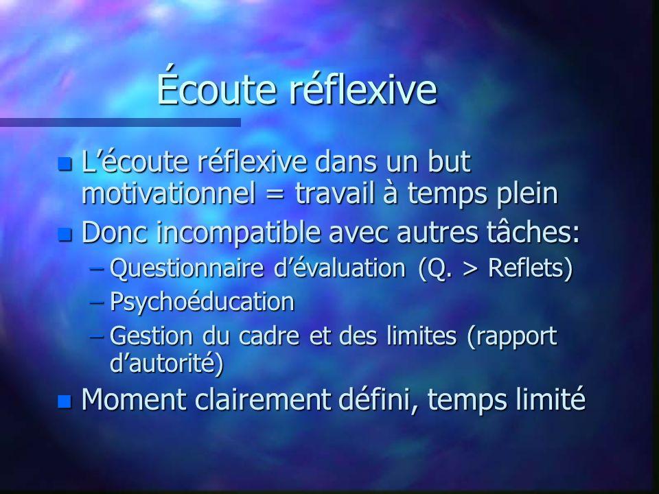 Écoute réflexive n Lécoute réflexive dans un but motivationnel = travail à temps plein n Donc incompatible avec autres tâches: –Questionnaire dévaluat