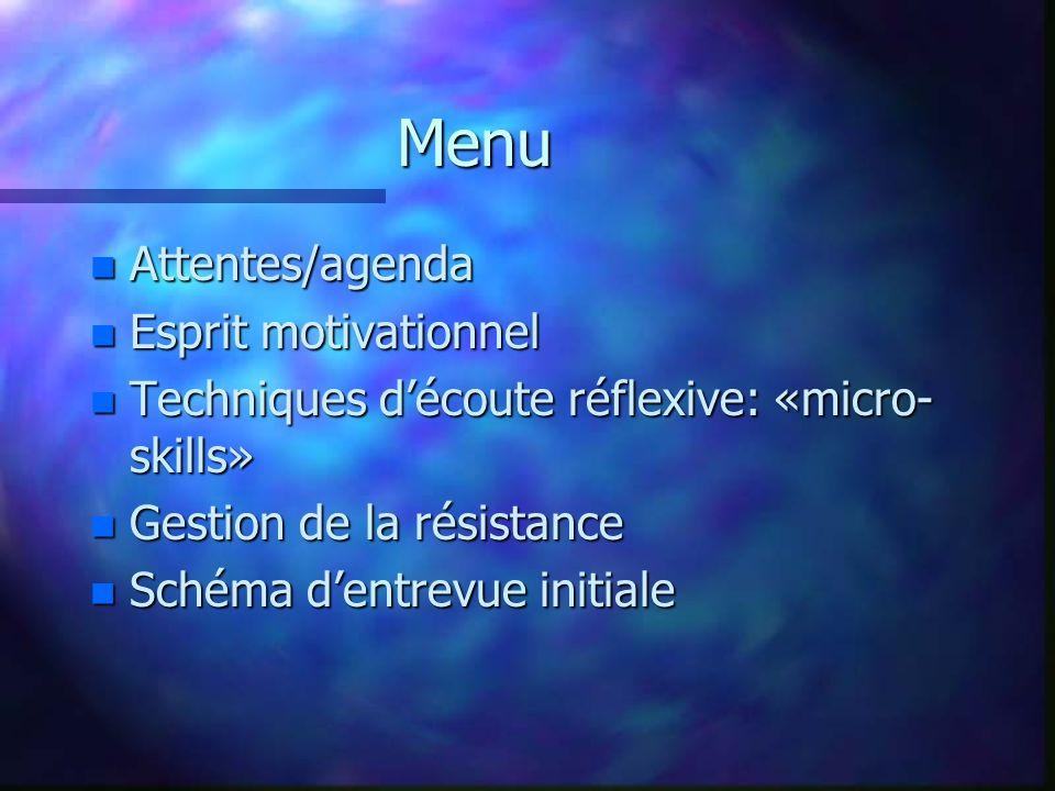 Menu n Attentes/agenda n Esprit motivationnel n Techniques découte réflexive: «micro- skills» n Gestion de la résistance n Schéma dentrevue initiale
