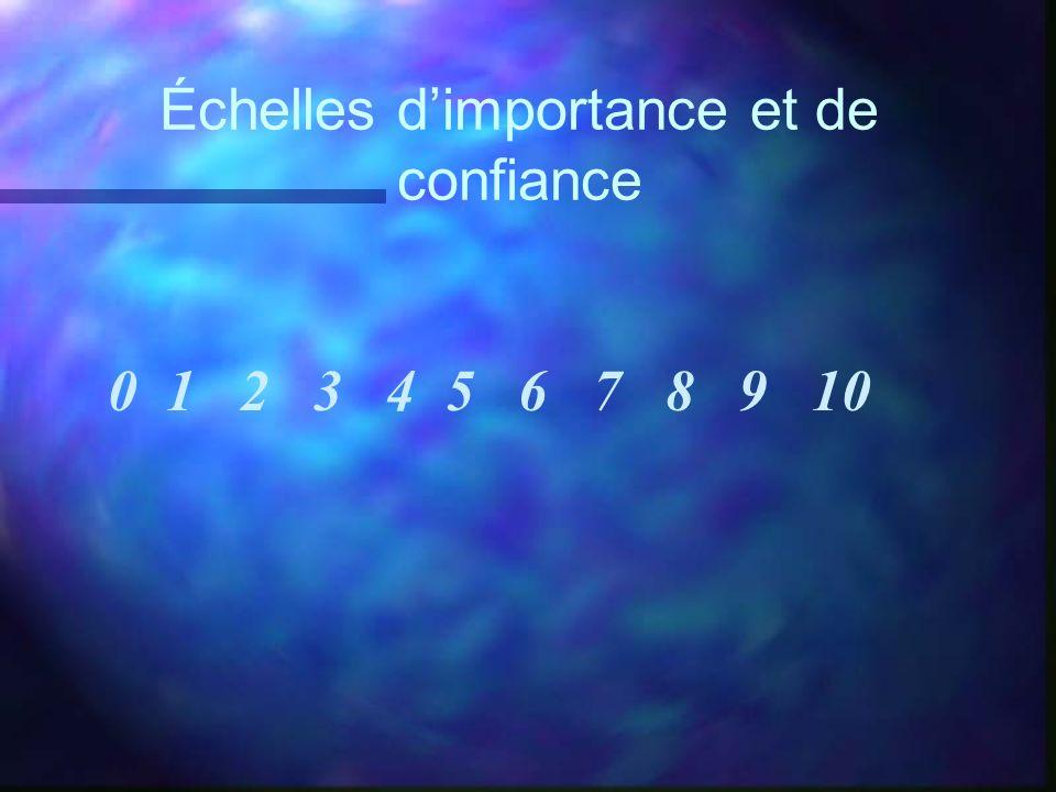 Échelles dimportance et de confiance 0 1 2 3 4 5 6 7 8 9 10