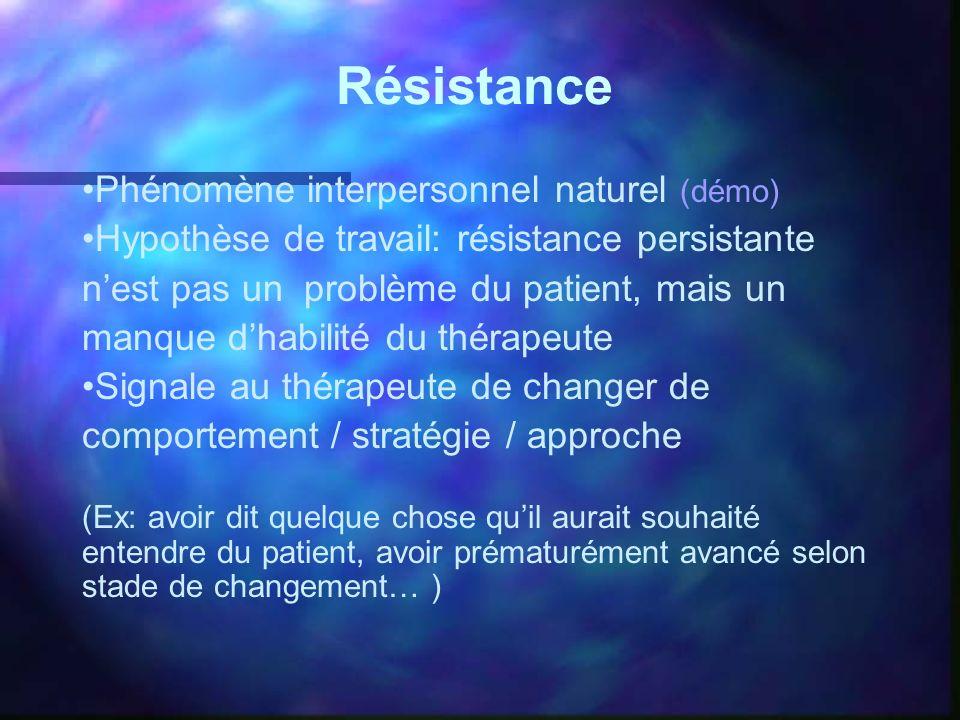 Résistance Phénomène interpersonnel naturel (démo) Hypothèse de travail: résistance persistante nest pas un problème du patient, mais un manque dhabil