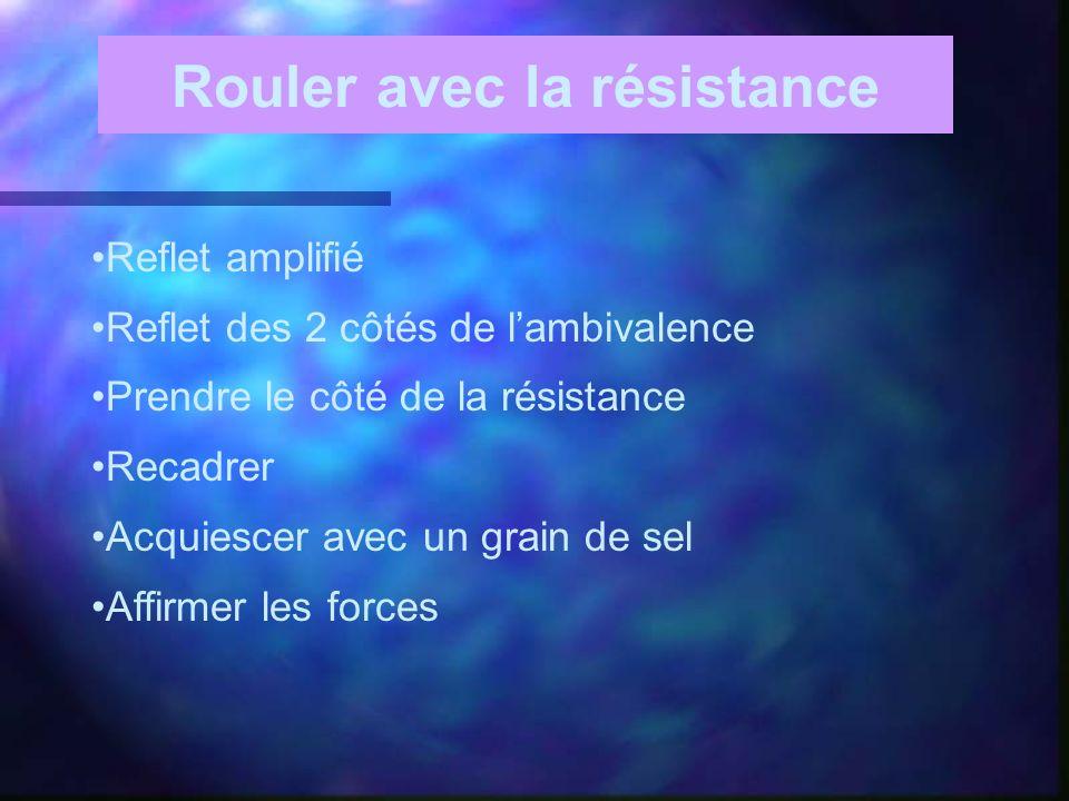 Rouler avec la résistance Reflet amplifié Reflet des 2 côtés de lambivalence Prendre le côté de la résistance Recadrer Acquiescer avec un grain de sel